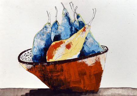 Dance of the Fruit Bowl - mixed media on paper (21cm x 30cm approx)