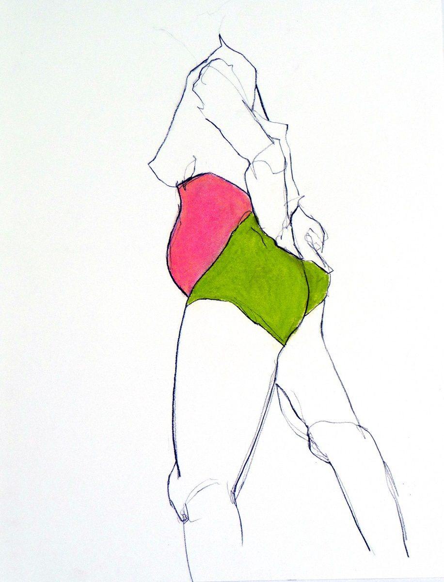 Figure in Lime & Pink (Inspired by Jylian Gustlin, charcoal & pastel, 35.5 x 46 cms)