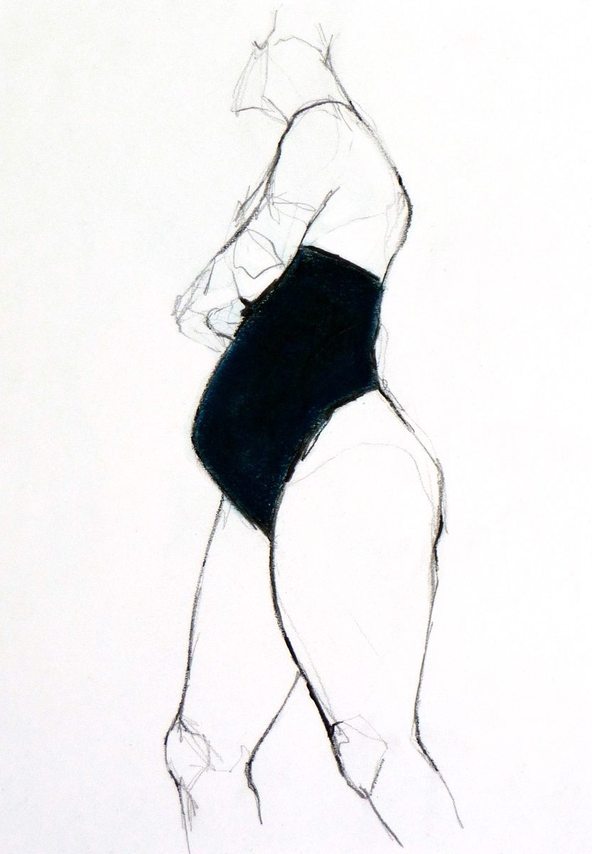 Figure in Blue (Inspired by Jylian Gustlin, Charcoal & Pastel on paper, 335 x 435cms framed)