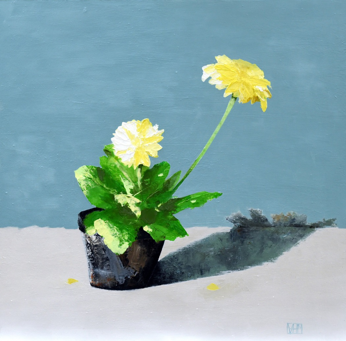 Yellow Flower in Pot (oil on board, 43 x 43cms, framed)