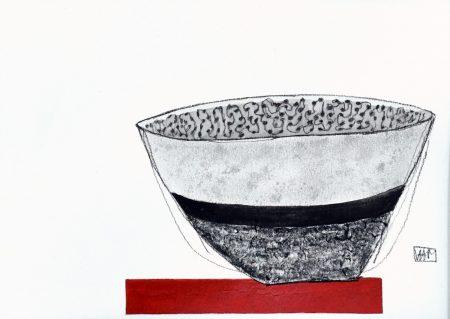 Red Shelf III - mixed media (30.5cm x 25.5cm)