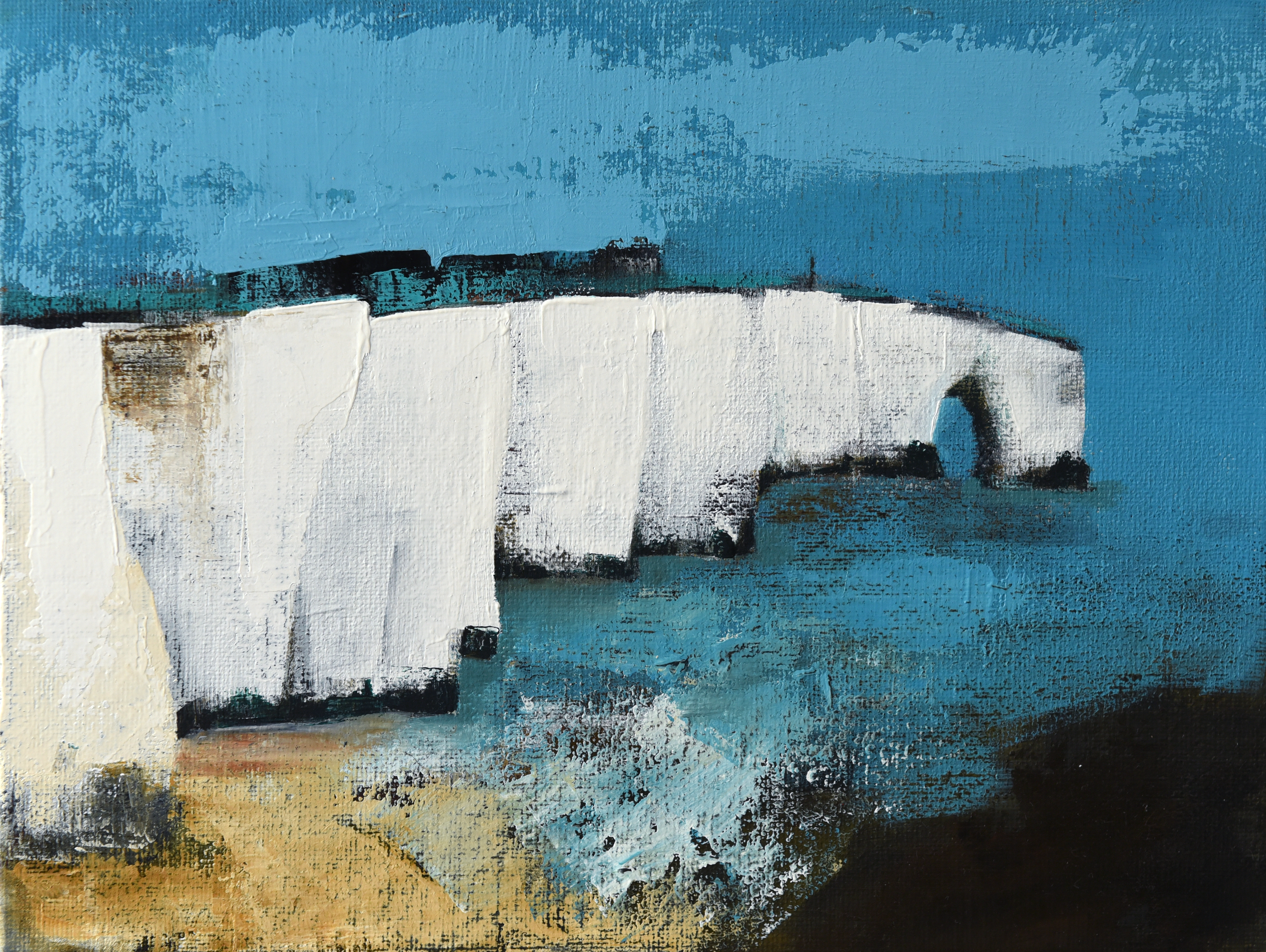 White Cliffs I (oil on canvas board, 42 x 36cms, framed)