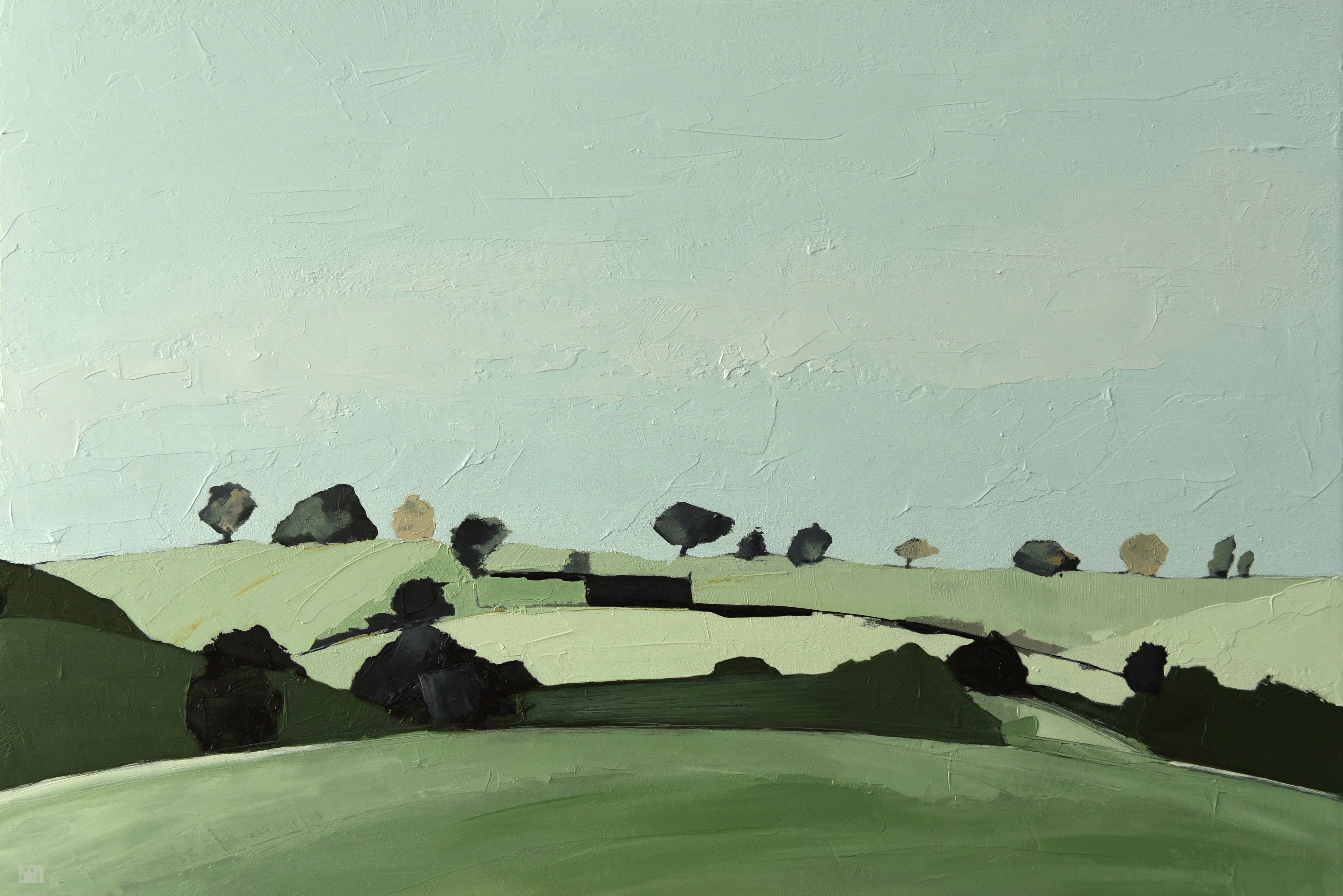 View from Sharpham (oil on board, 31.5 x 46.5, framed)