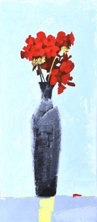 Red Geranium (oil on board, 21 x 46cms, framed)