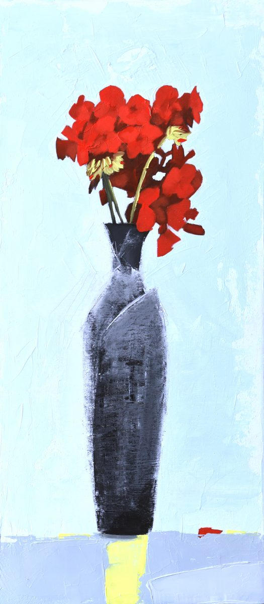 Red Geranium (oil on board, 21 x 46cms, framed)