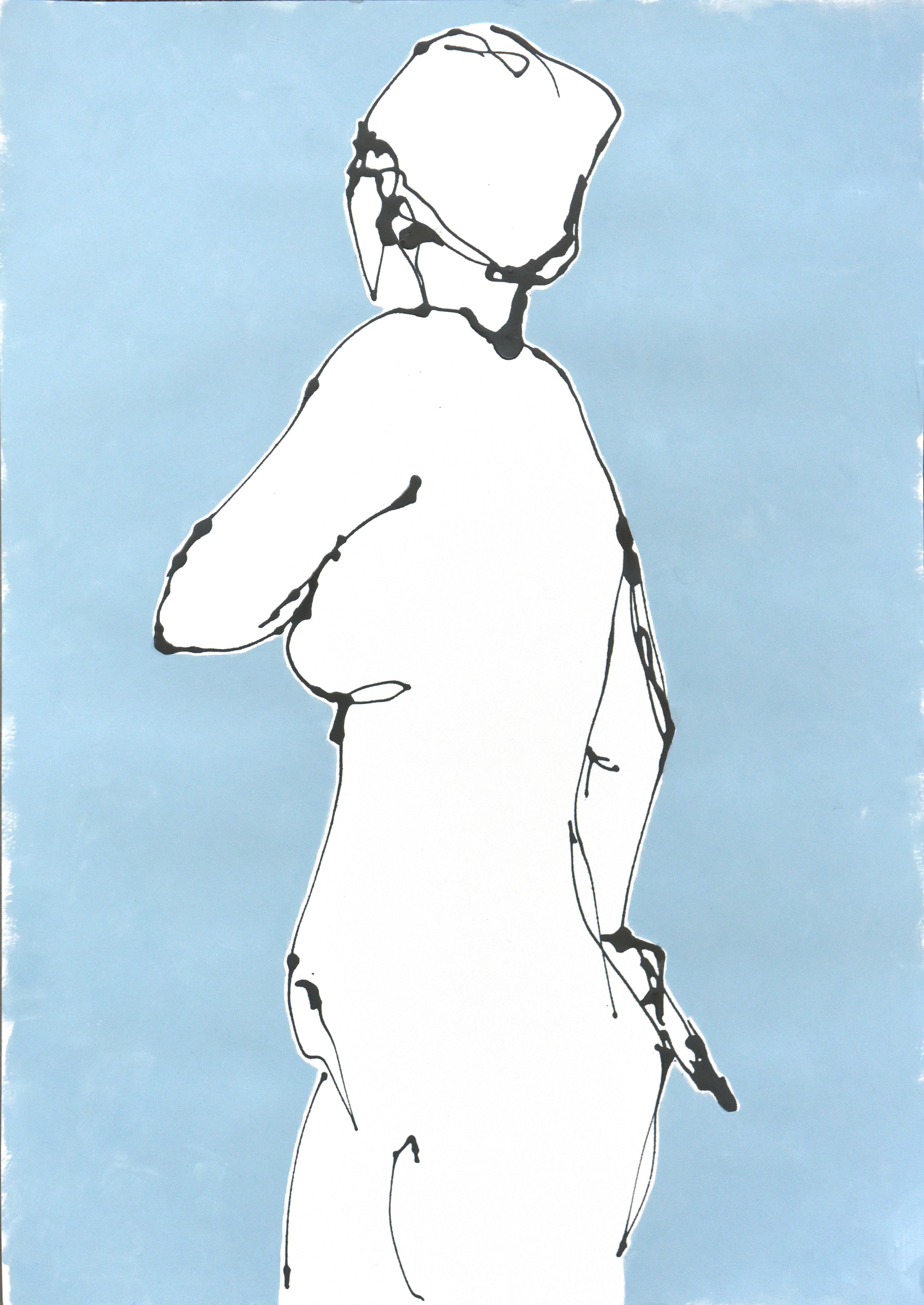 Teal II (acrylic on paper, 39.5 x 57.5cms, framed)