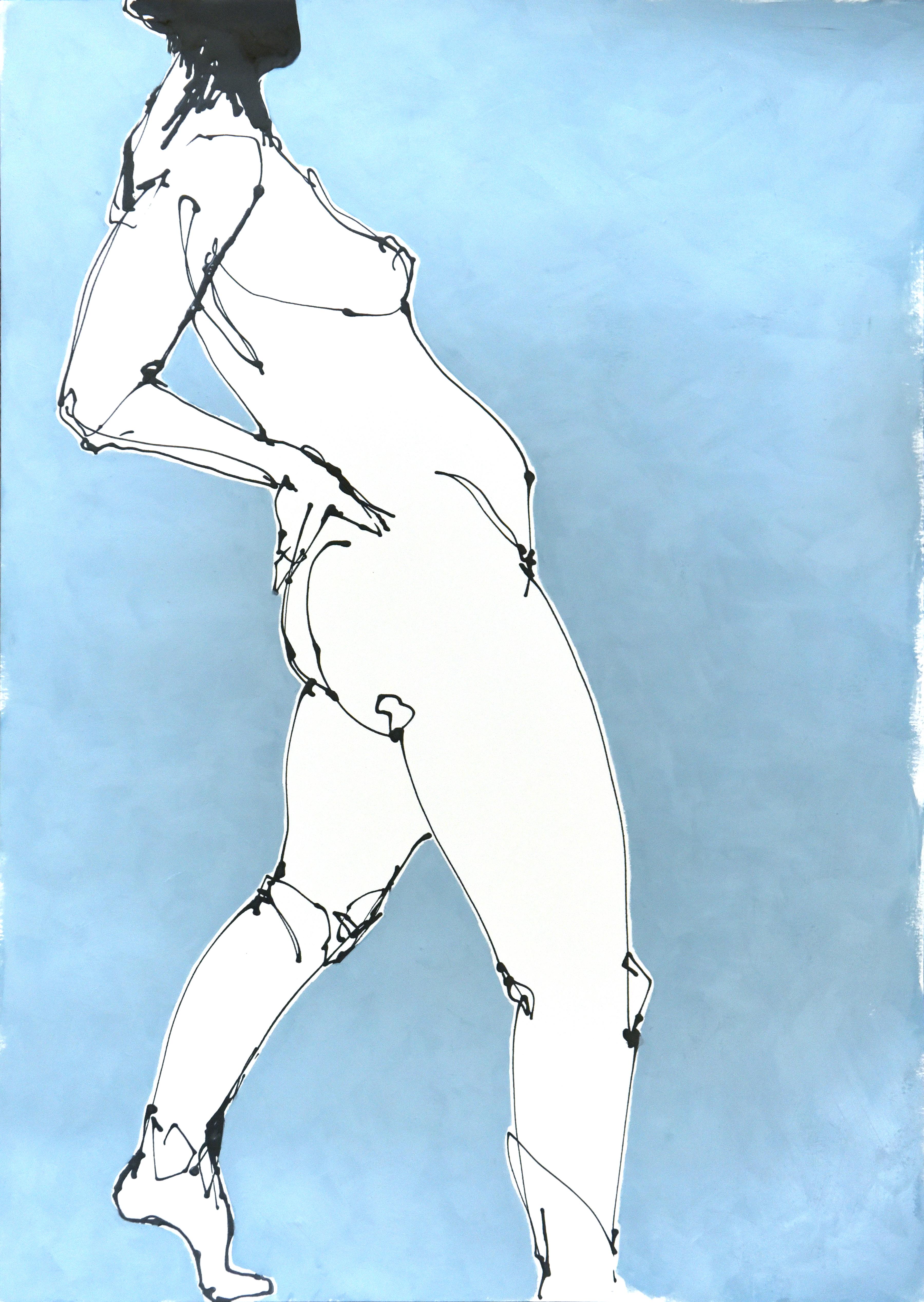 Teal I (acrylic on paper, 40 x 58.5cms, framed)