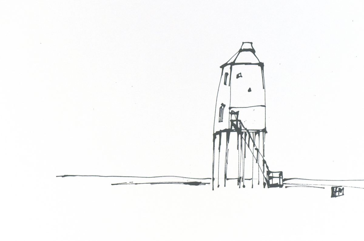 Burnham-on-Sea Low Lighthouse (acrylic on paper, 32.5 x 28cms, unframed)