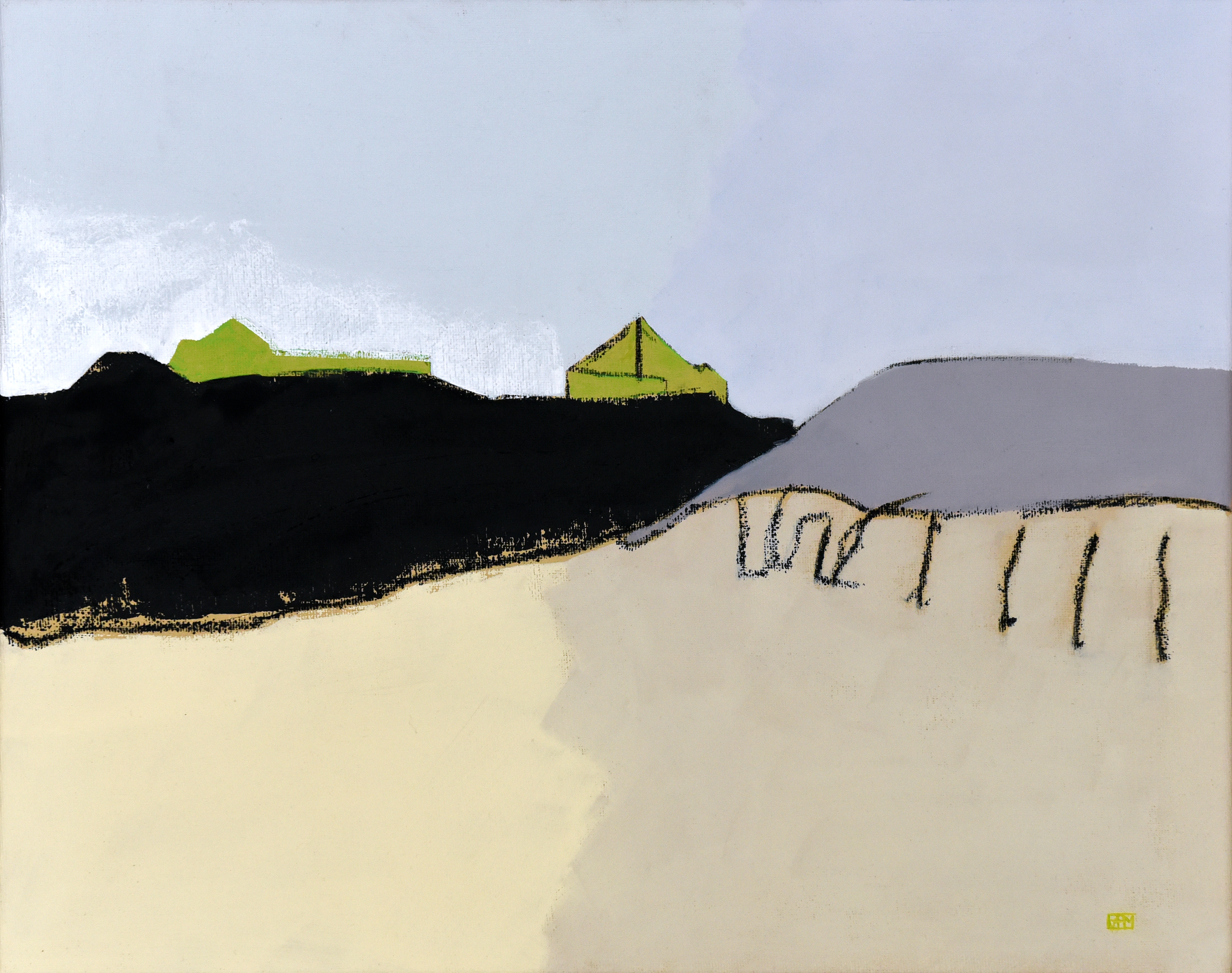 South Milton Sands in green (oil on canvas, 45 x 35.5cms, unframed)