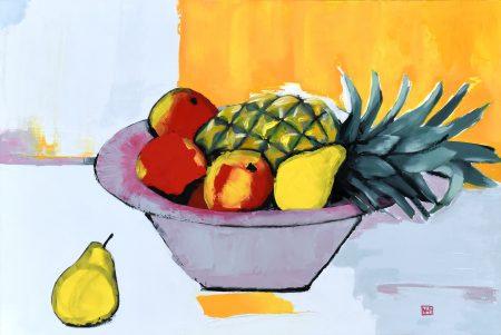Fruit Bowl (oil on board, 31.5 x 46.5cms, framed)