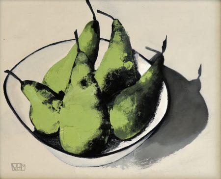 Pears III (oil on board, 33.5 x 28.5cms, framed)