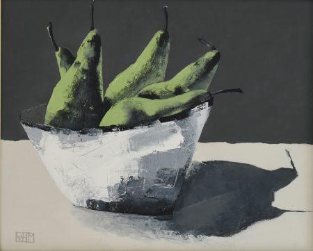 Pears II (oil on board, 33.5 x 28.5cms, framed)