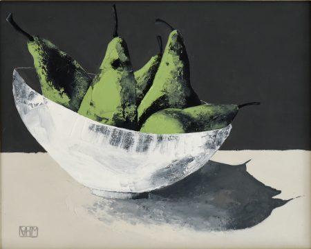Pears I (oil on board, 33.5 x 28.5cms, framed)