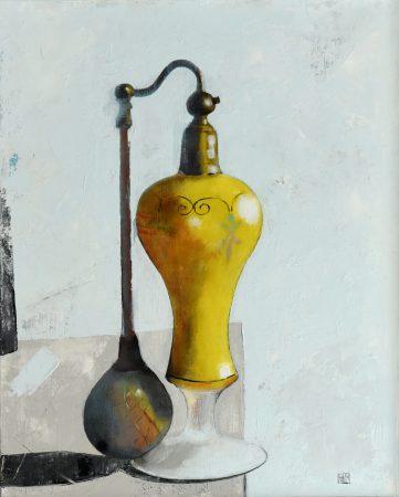 L'atomiseur (oil on canvas board, 25 x 31cms, framed)