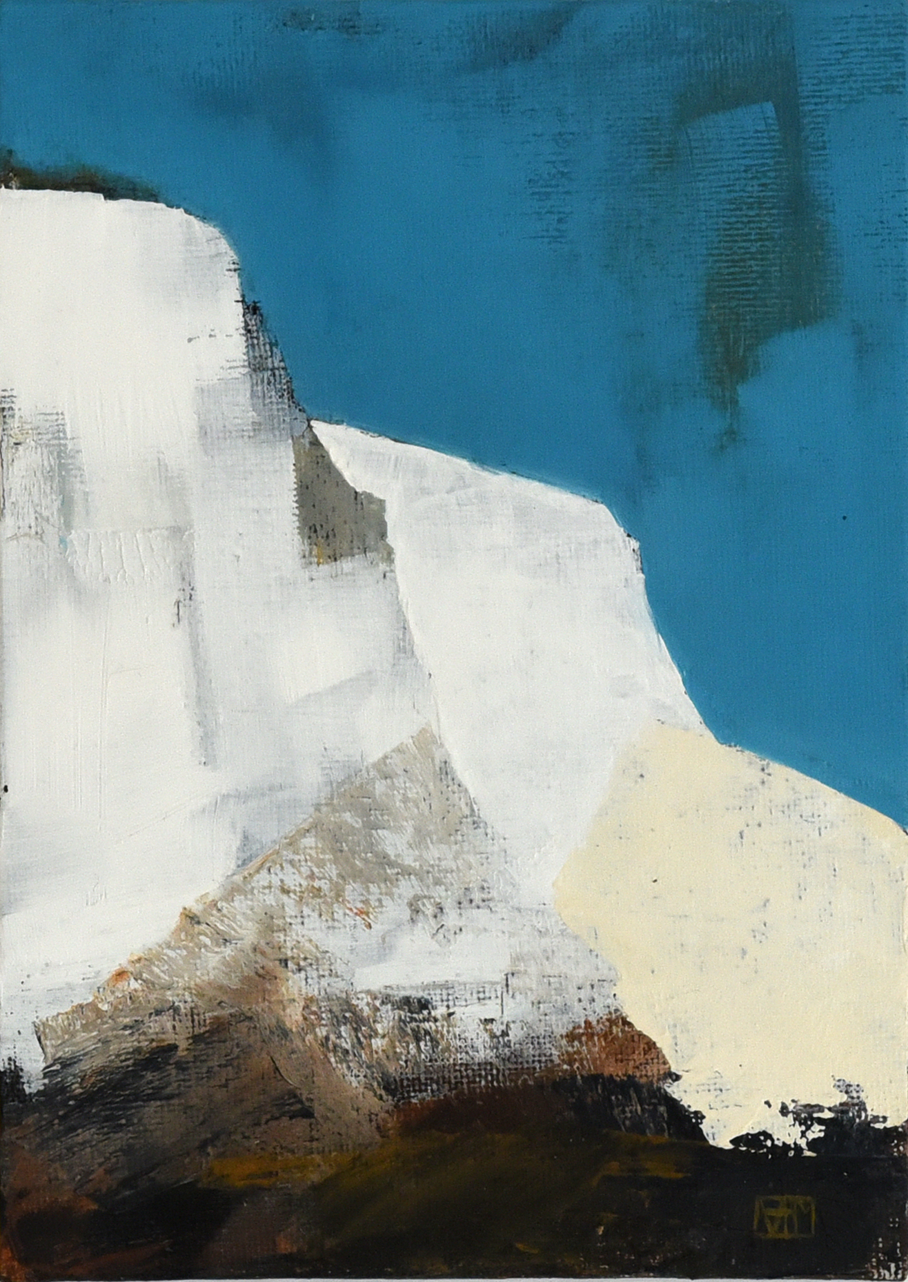 White Cliffs III (oil on canvas board, 28.5 x 34cms, framed)