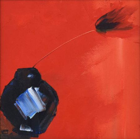 Red Flower in Pot (oil on canvas paper, 29.5 x 29.5cms, framed)