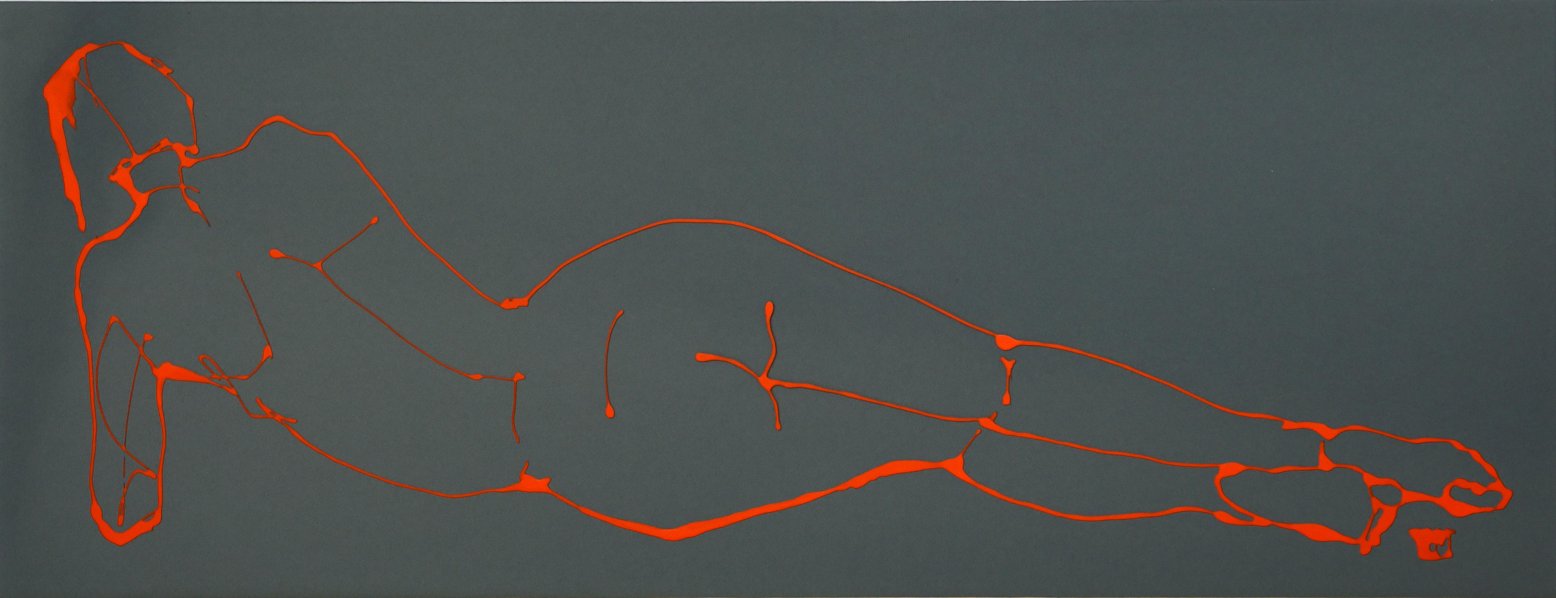 Waking (Liquid acrylic on Mylar, 72.5 x 41cms, framed)